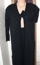 BLACK STRETCH SHIMMER FINE KNIT BEADED LONG JACKET SKIRT SUIT M COUNTRY CASUALS
